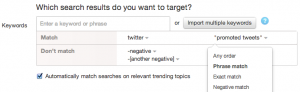 twitter negative keyword