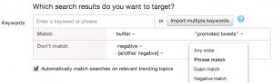 twitter negative keyword